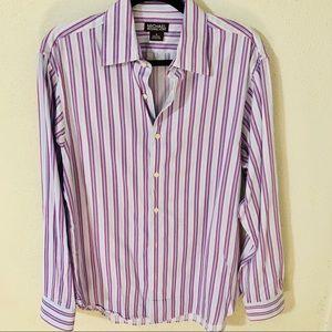 Michael Kors Purple Striped Button Up Shirt Size M